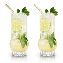 Load image into Gallery viewer, Deco Highball Glasses (Set of 2)