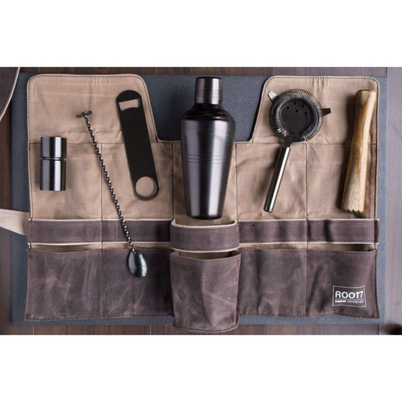 Waxed Canvas Bartender Bag and Tools
