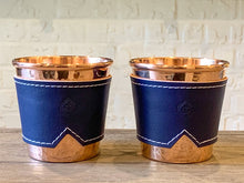 Load image into Gallery viewer, Copper Cups with Leather Sleeve (set of 2)