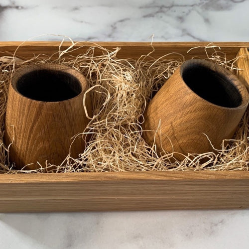 Oak Whiskey Tumbler Gift Crate Set of 2