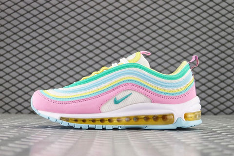 womens nike air max 97 pink white yellow green trainers