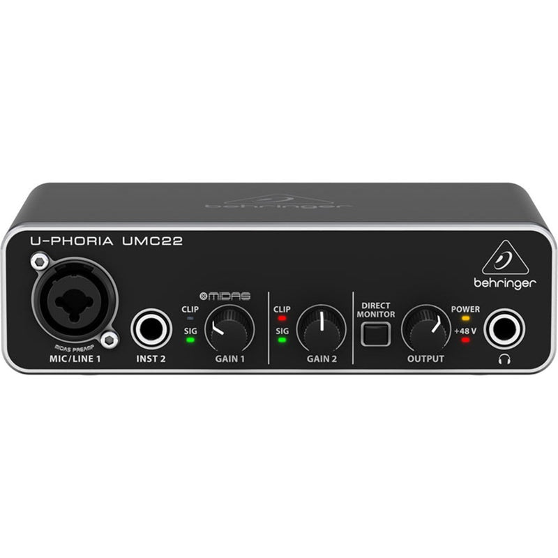 Behringer U-Phoria UMC22 2x2 USB Audio Interface (24-Bit/48kHz)