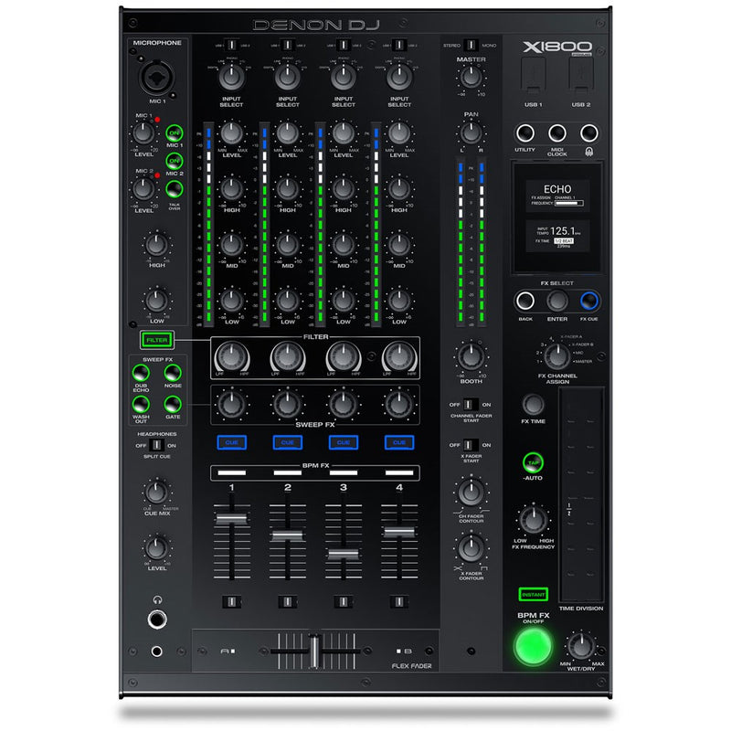 Denon DJ X1800 PRIME Professional 4-Channel DJ Club Mixer