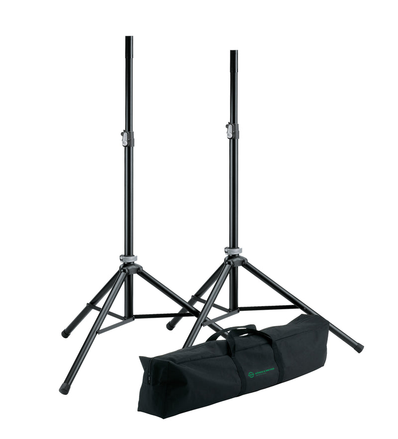 "QSC CP12 | 2KW Powered 12"" Speakers & Stands Package System 1"