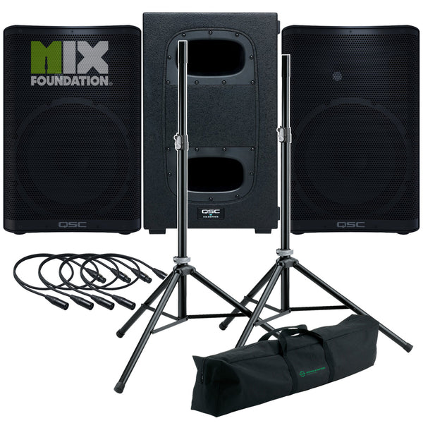 "QSC CP12 + KS112 | 4KW Powered 12"" Speakers with Powered 12"" Sub & Stands Package System 2"