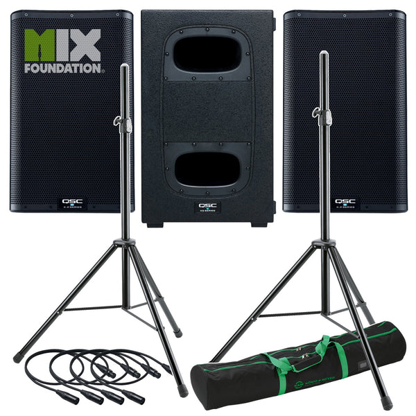 "QSC K10.2 + KS112 | 6KW Powered 10"" Speakers with Powered 12"" Sub & Stands Package System 2 PRE-ORDER"