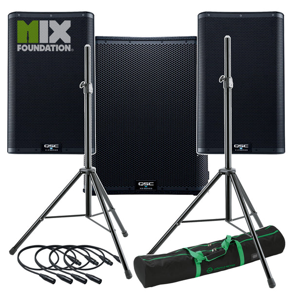 "QSC K10.2 + KS118 | 7.6KW Powered 10"" Speakers with Powered 18"" Sub & Stands Package System 3"
