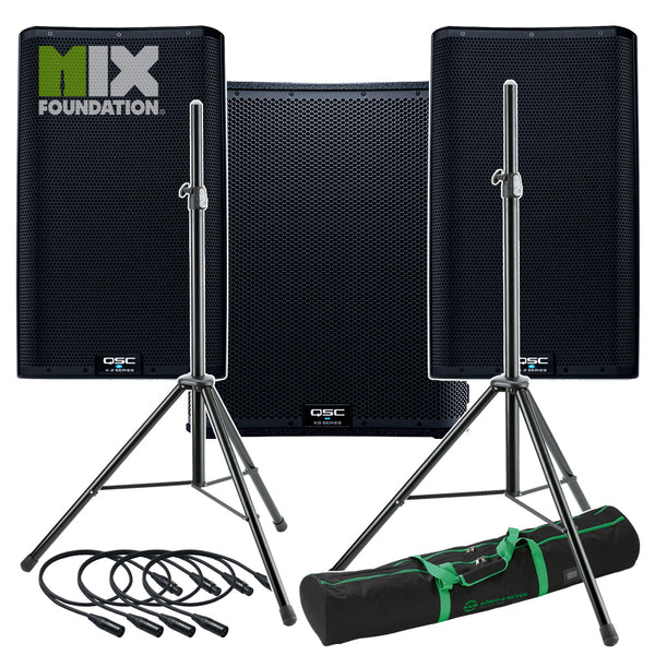 "QSC K12.2 + KS118 | 7.6KW Powered 12"" Speakers with Powered 18"" Sub & Stands Package System 3 PRE-ORDER"