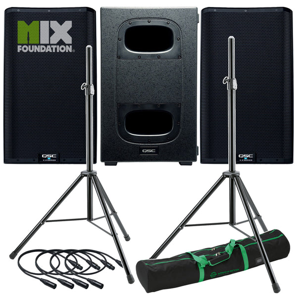 "QSC K12.2 + KS212C | 7.6KW Powered 12"" Speakers with Powered Dual 12"" Sub & Stands Package System 2"