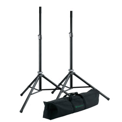 K&M 21449 SPEAKER STANDS (PAIR) Black Aluminium with Bag | Made in Germany w/ 5 Year Warranty