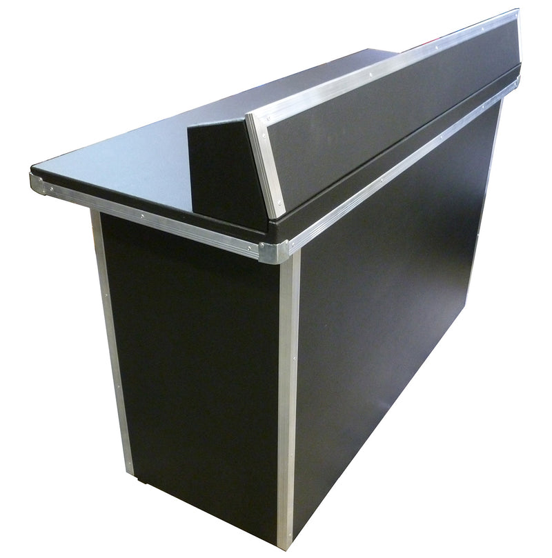 Portable Heavy-Duty DJ BOOTH-TABLE | Black Tolex Vinyl covered with Aluminium Trim
