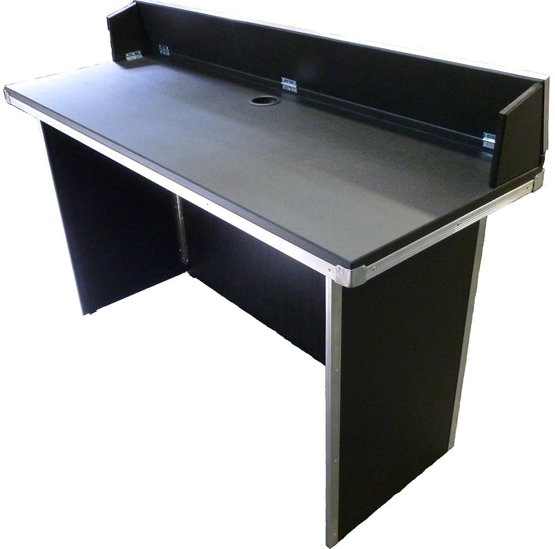 Portable Heavy-Duty DJ BOOTH-TABLE | Black Tolex Vinyl covered with optional Aluminium Trim