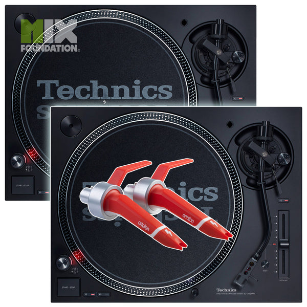 Technics SL-1210MK7 Direct Drive DJ Turntable (PAIR) with Ortofon Concorde Digital Cartridges Package