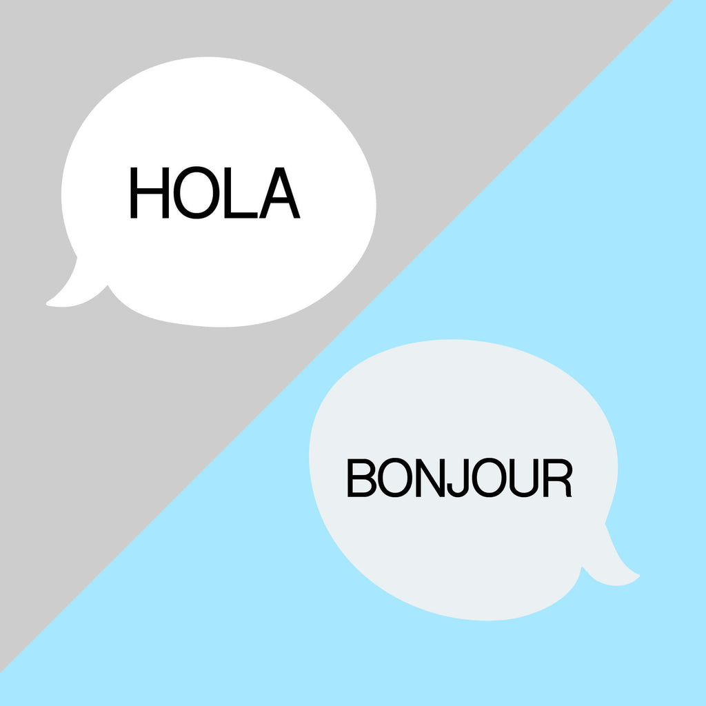 Speech bubbles with different languages for 'hello'