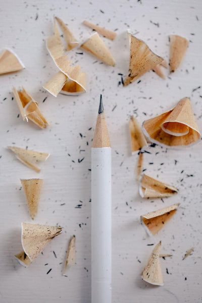 ic: graphite pencil with shavings around it on a white background