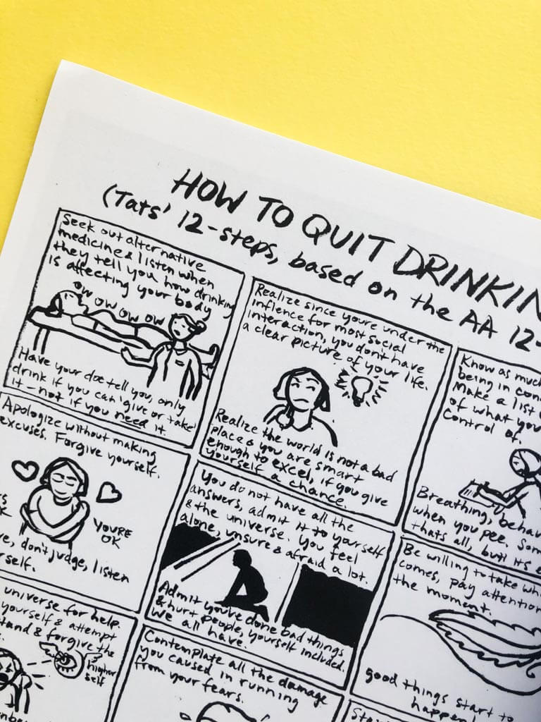 How to Quit Drinking, Tat's 12-Steps Comic Zine Page by Tatiana Gill