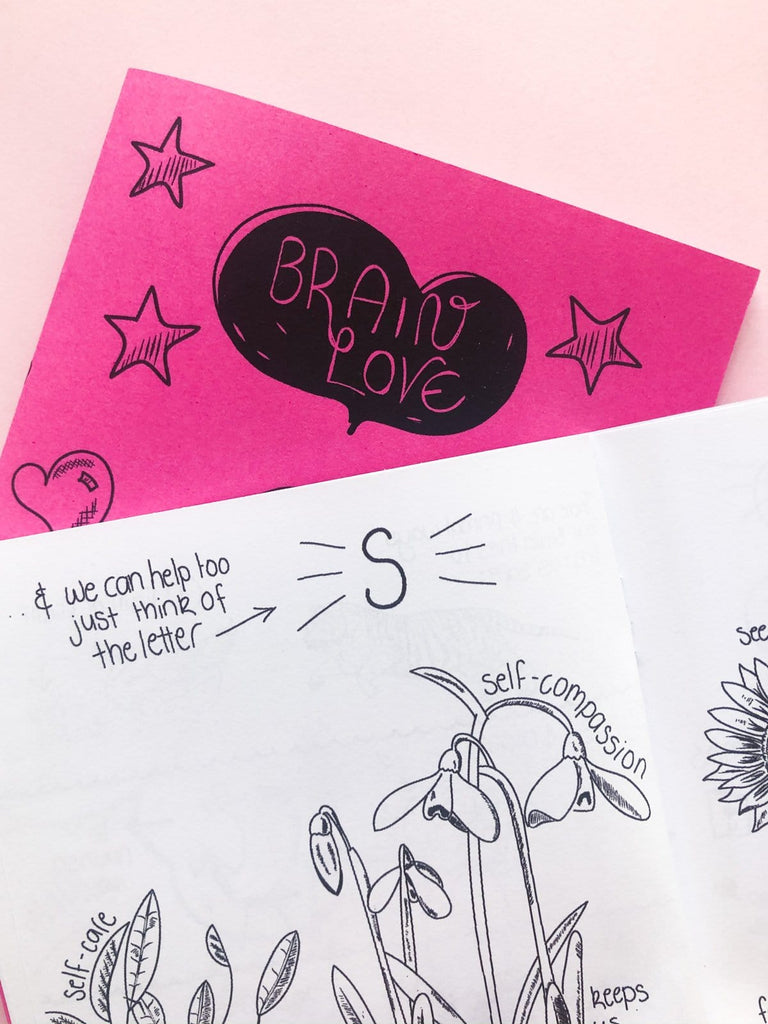 Inside page of the zine titled Brain Love showing self-compassion tips