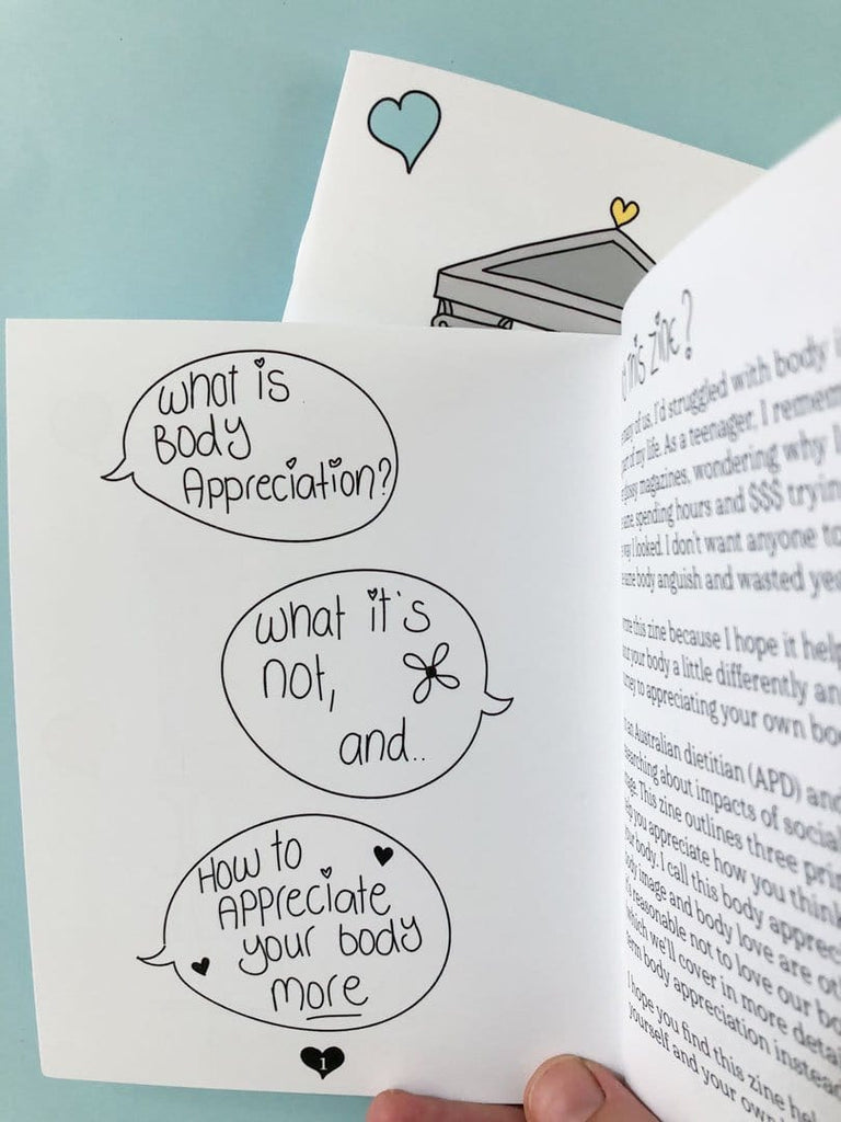 Inside cover of the body image zine titled Love Me, with speech bubbles