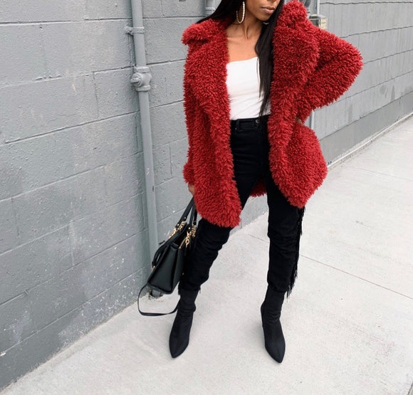 Crimson Plush Coat