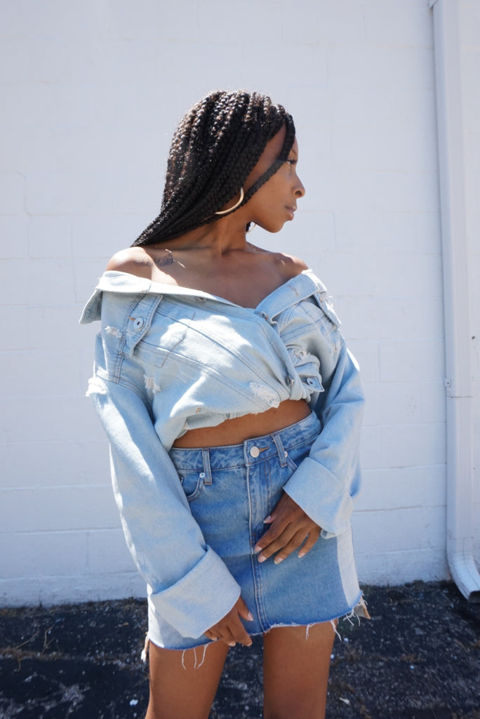 Two Tone Denim Skirt