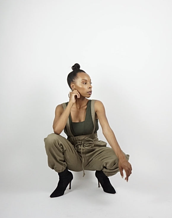 Olive Cross Back Oversized Overalls