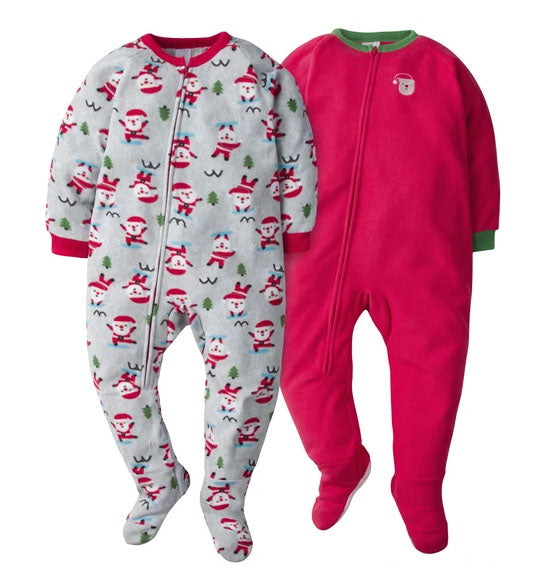 2-Pack Toddler Blanket Sleepers - Santa