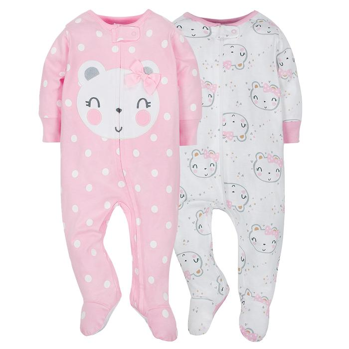 2-Pack Girls Organic Bear Sleep N' Play
