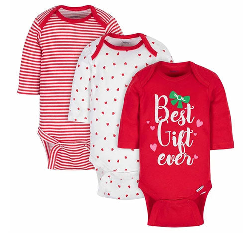 3-Pack Baby Girls' Holiday Gift Long Sleeve Onesies®