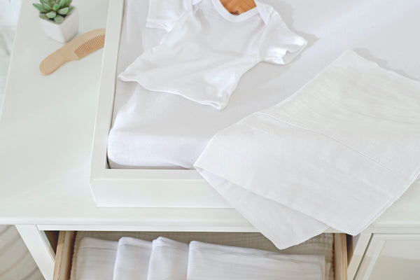 Side-Snap Shirt for Baby and Cloth Diapers on a Changing Table