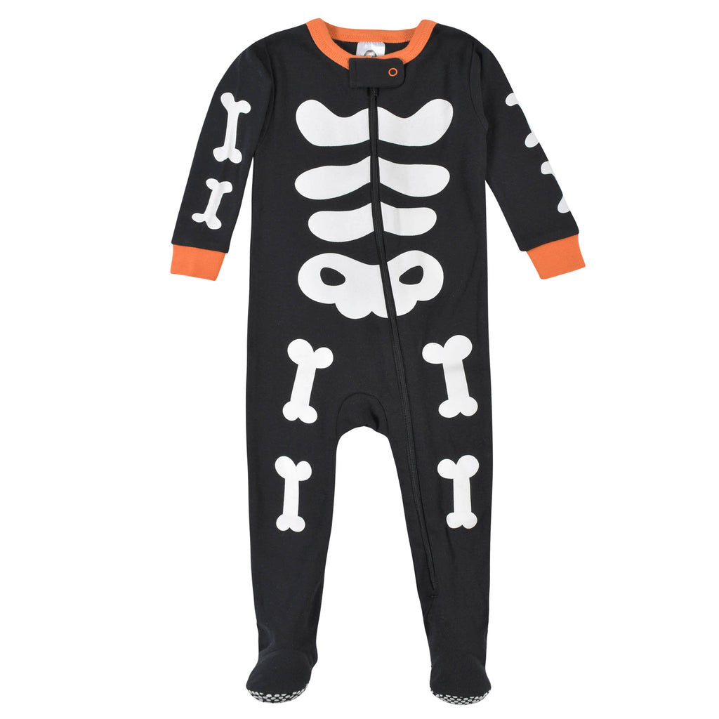 Halloween Baby Neutral Skeleton Snug Fit Footed Cotton Pajamas for Baby Boys or Baby Girls