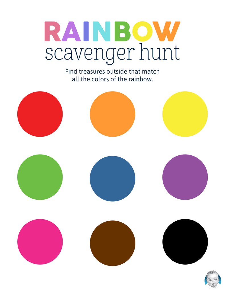 outdoor rainbow color scavenger hunt for kids and toddlers