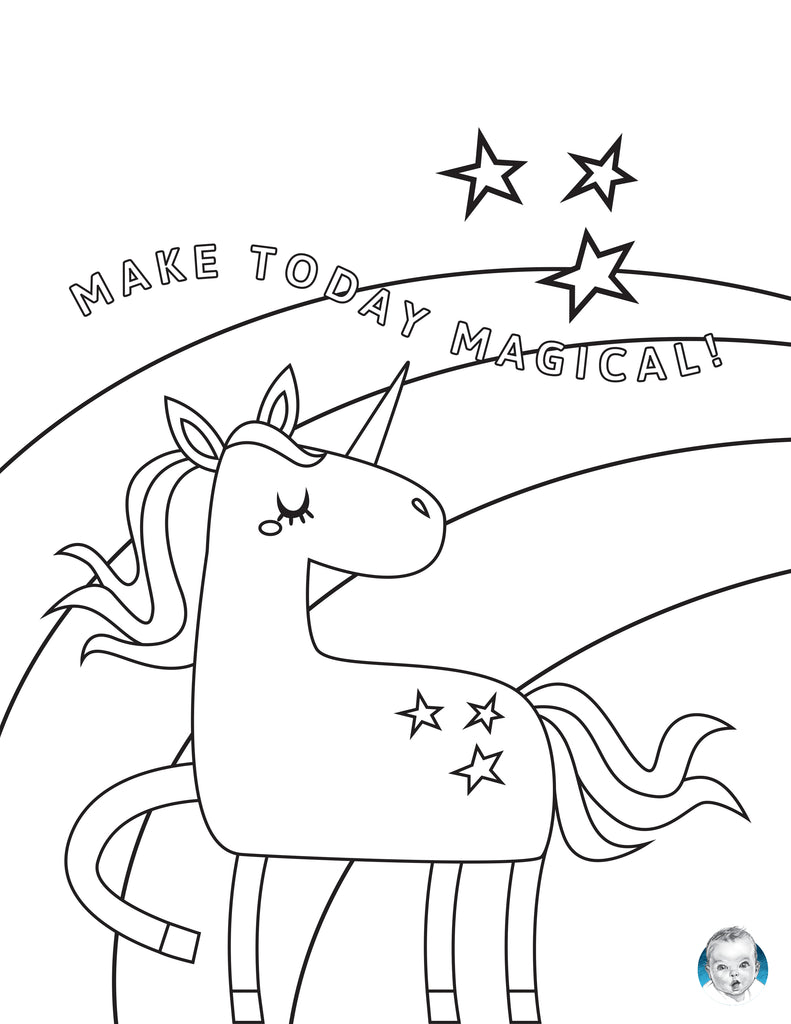 free printable unicorn coloring page activity for toddlers and kids