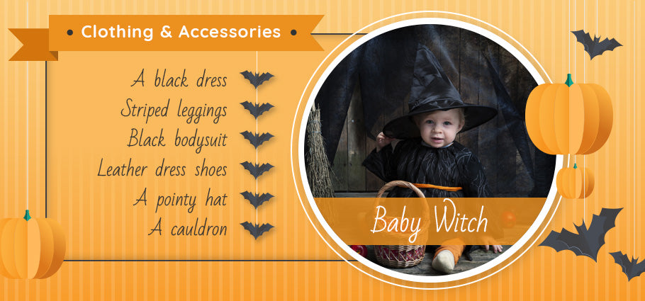 baby witch clothing and accessories graphic