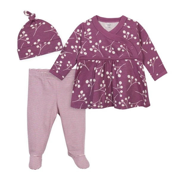 3-Piece Baby Girls' Grow by Gerber® Floral Organic Shirt, Footed Pant and Cap Set