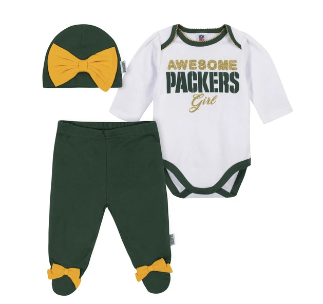 Baby Girls' Green Bay Packers 3-Piece Bodysuit, Pant and Cap Set