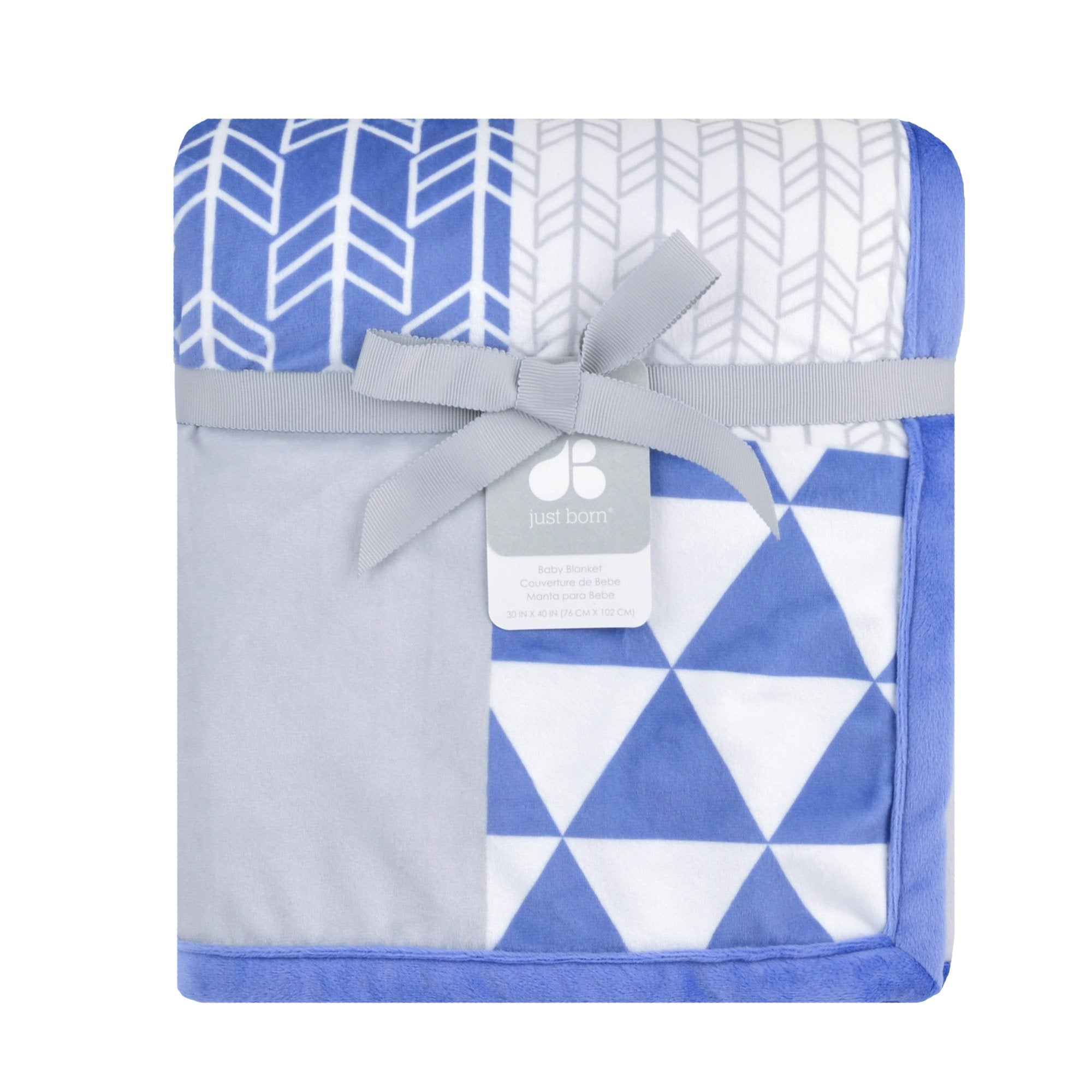 Just Born Patchwork Plush Blanket in Blue-Gerber Childrenswear