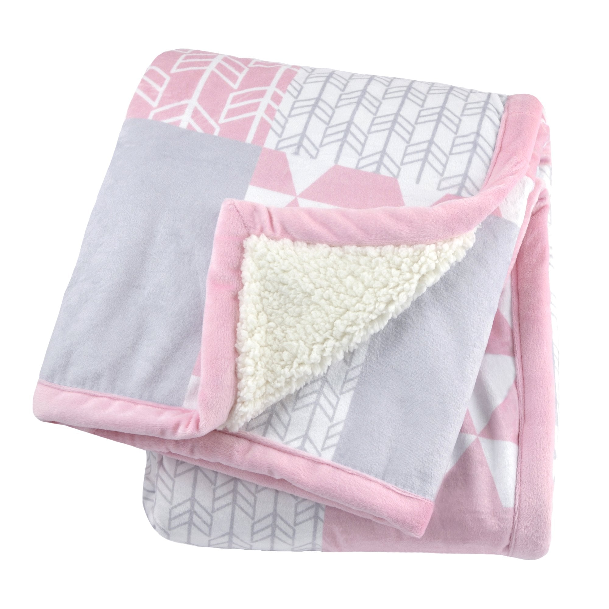 Just Born Patchwork Plush Blanket in Pink-Gerber Childrenswear