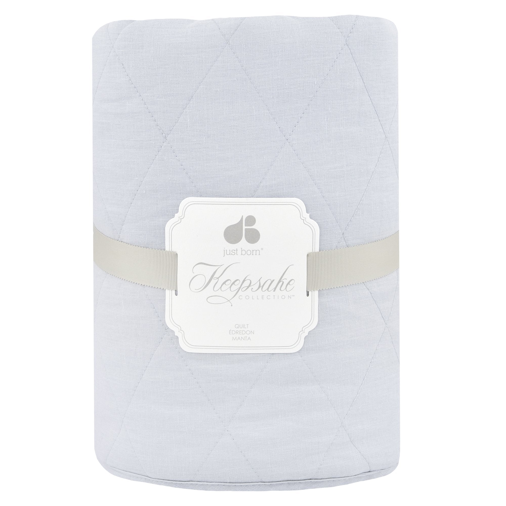 Just Born Keepsake Quilted Coverlet - Grey