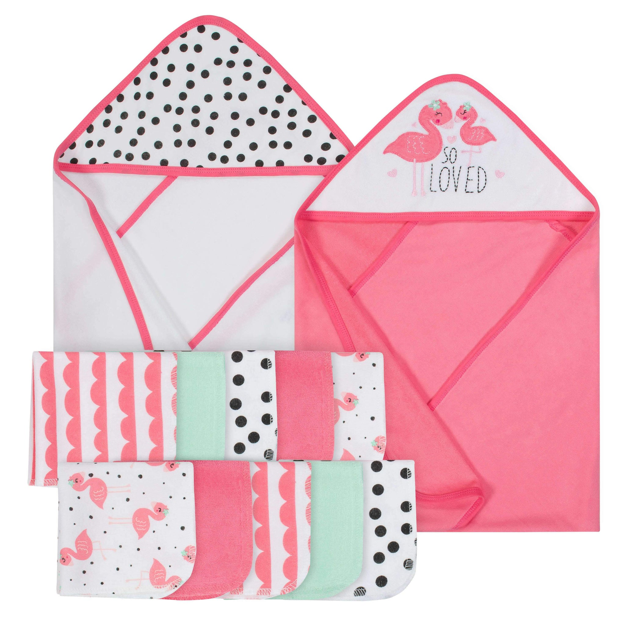 12-Piece Girls Terry Hooded Towel and Washcloth Set - Flamingo