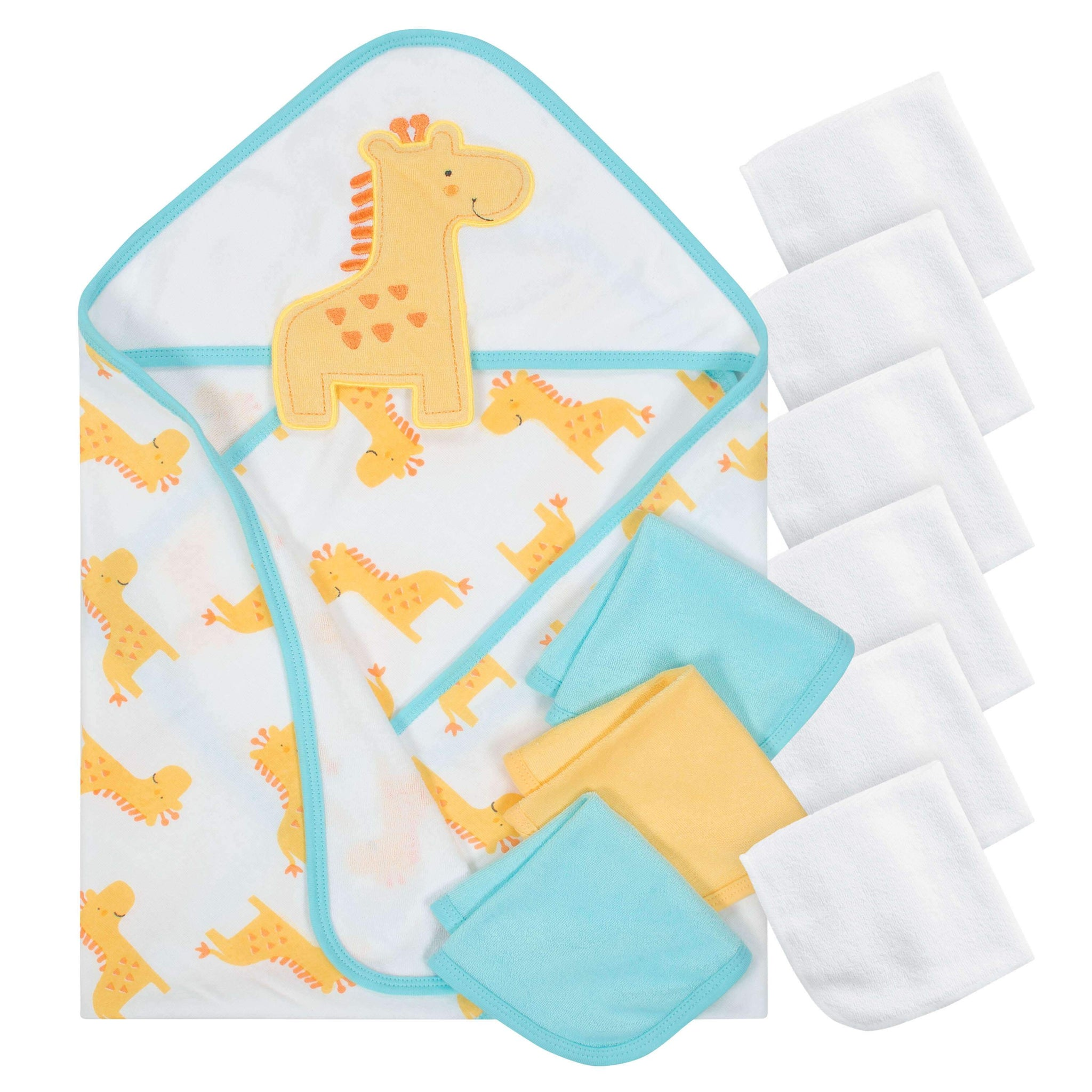 10-Piece Boys Terry Hooded Towel and Washcloth Set - Giraffe