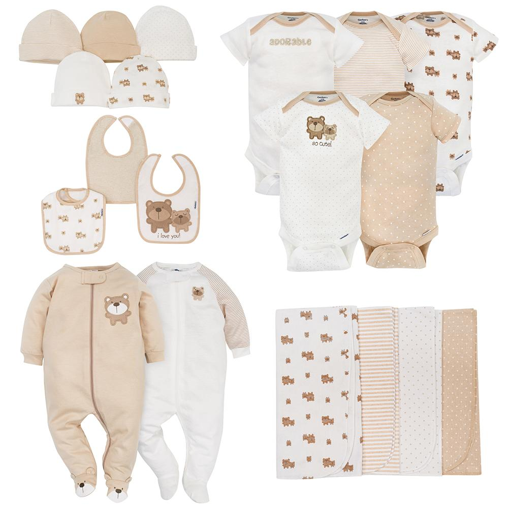 19-Piece Neutral Brown Bear Gift Set-Gerber Childrenswear