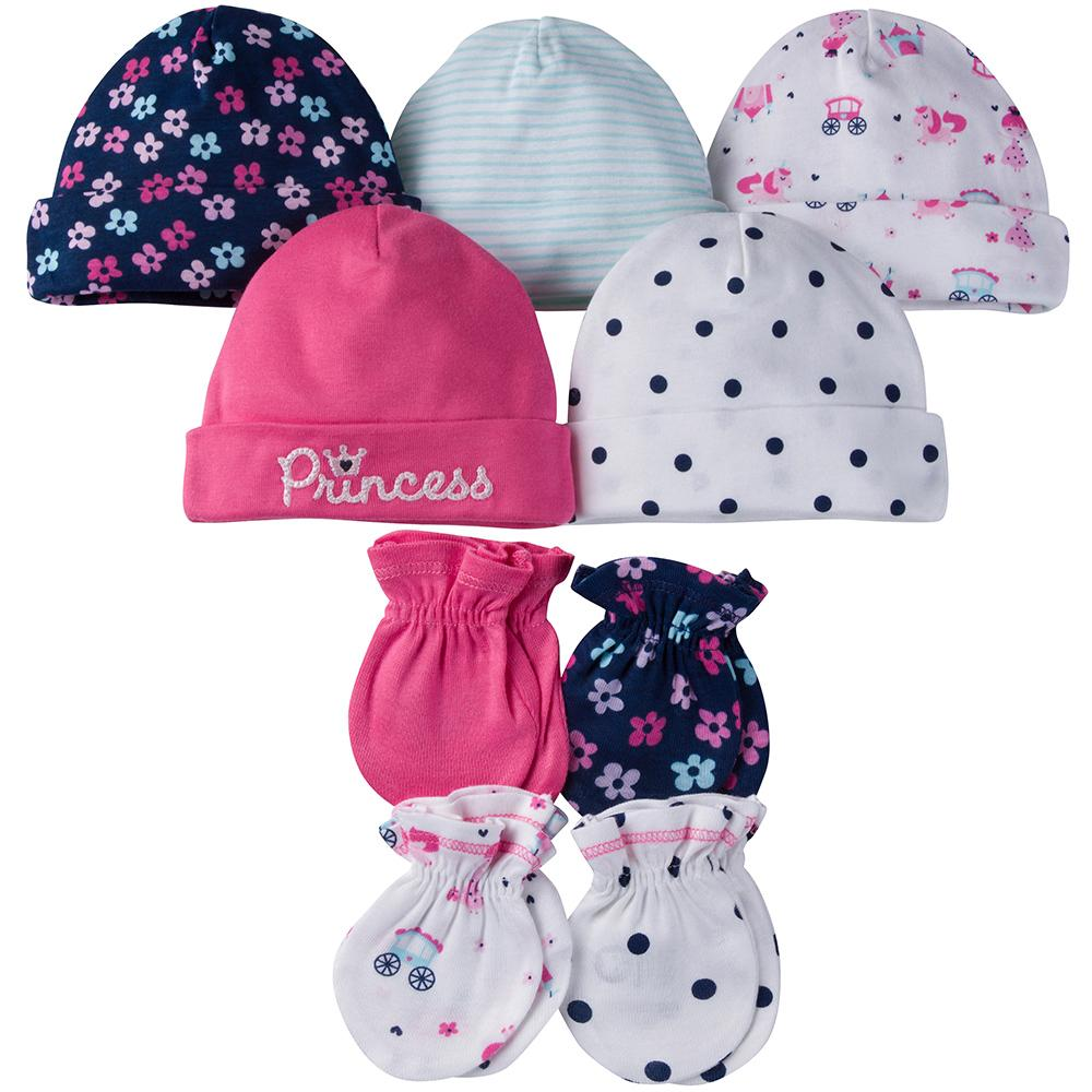 9-Piece Girls Princess Cap & Mittens Set-Gerber Childrenswear