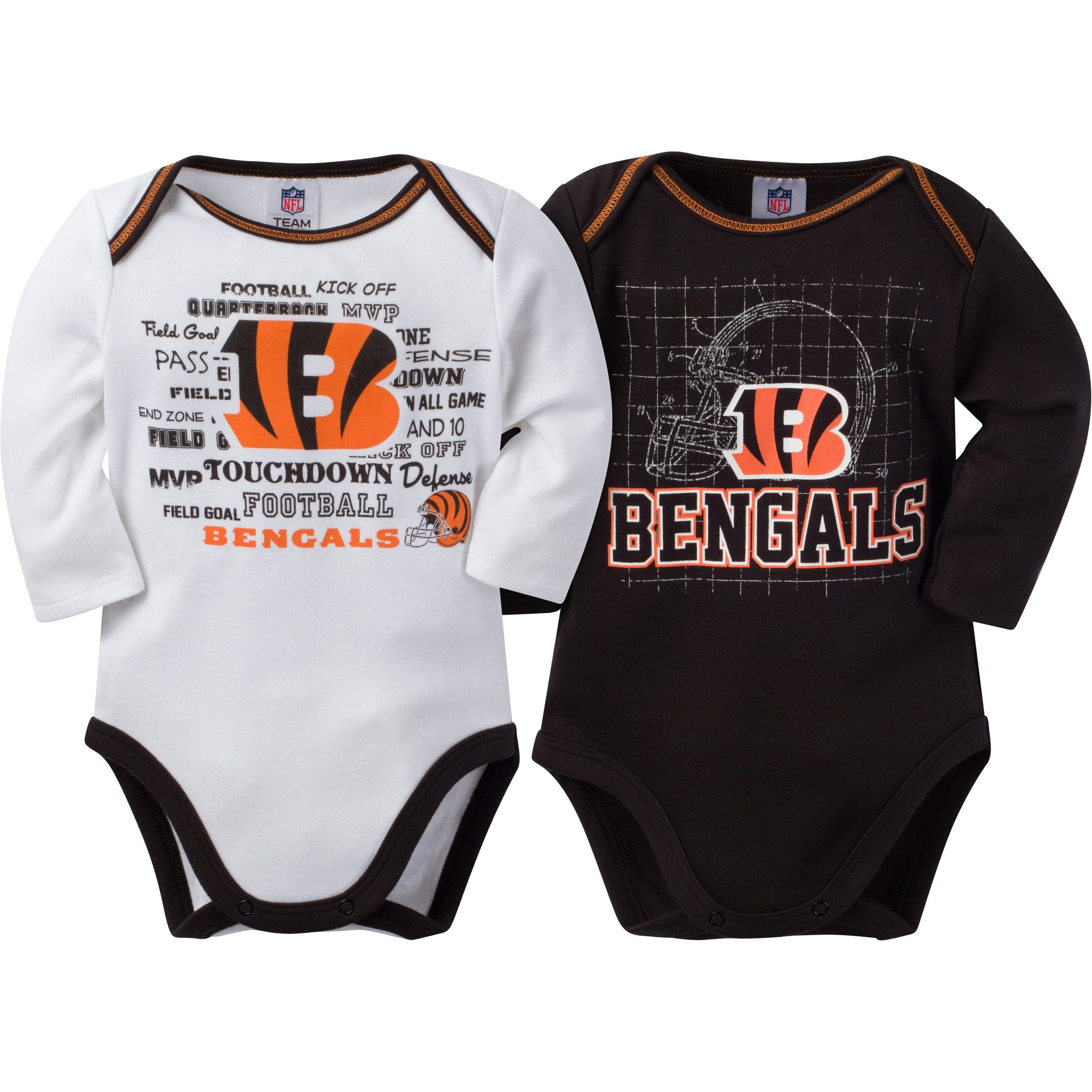Cincinnati Bengals Baby Boy 2 Pack Long Sleeve Bodysuit-Gerber Childrenswear