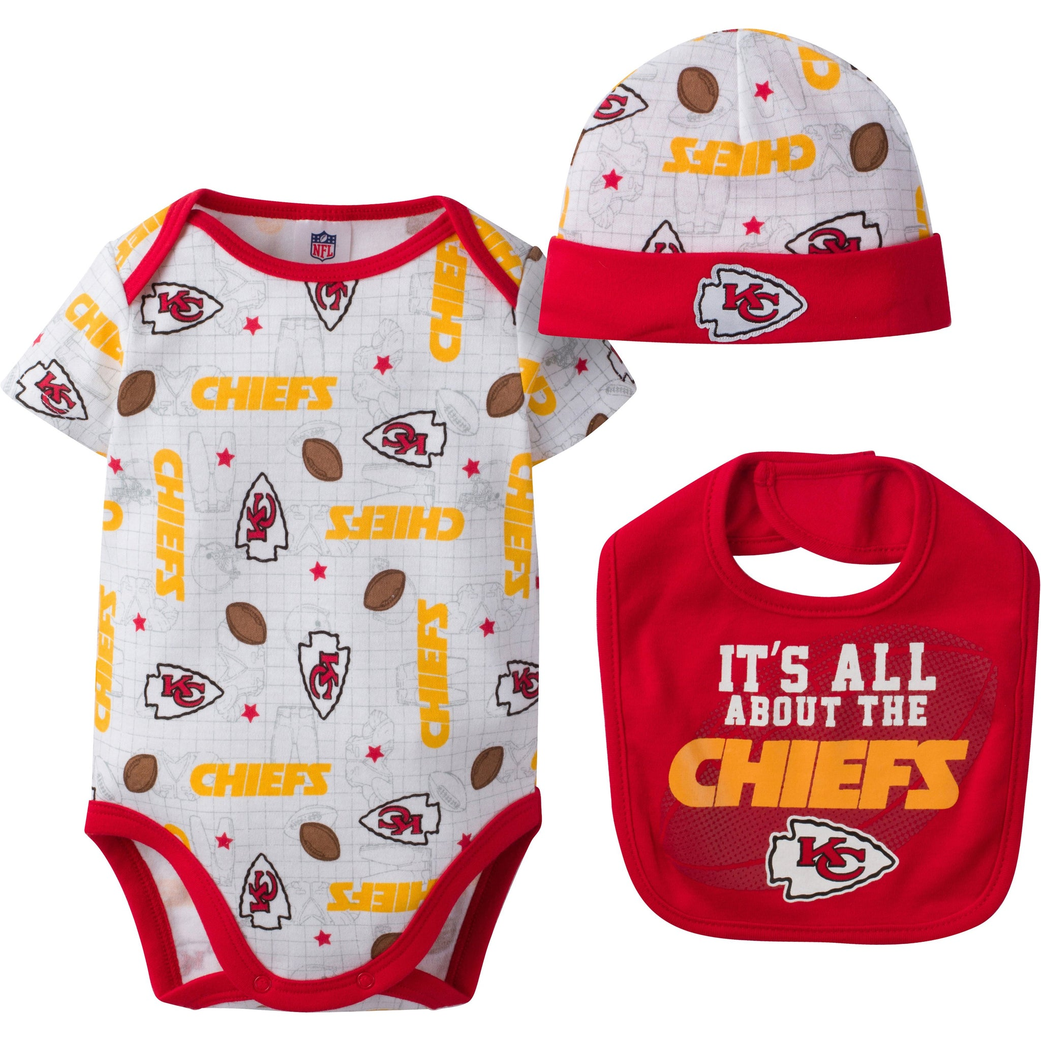 Kansas City Chiefs Baby Girl 3 Piece Bodysuit, Bib and Cap Set