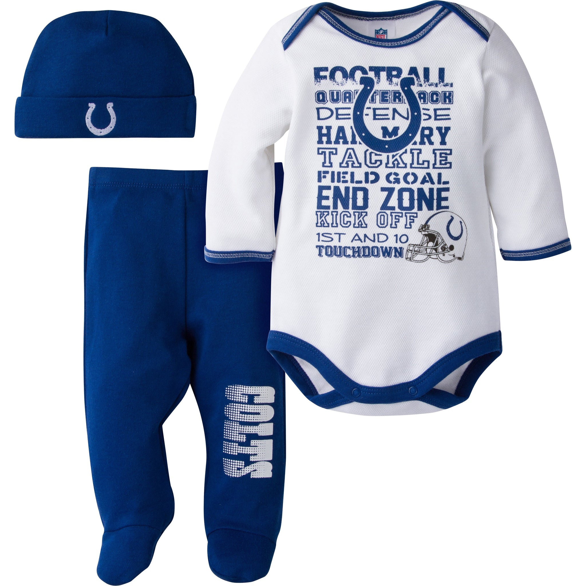 Indianapolis Colts Baby 3 Piece Bodysuit, Pant and Cap Set