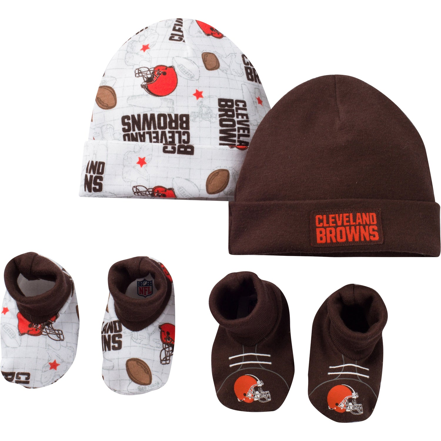 low priced 04f0c 3efb3 Cleveland Browns Saints Baby 4 Piece Cap and Bootie Set