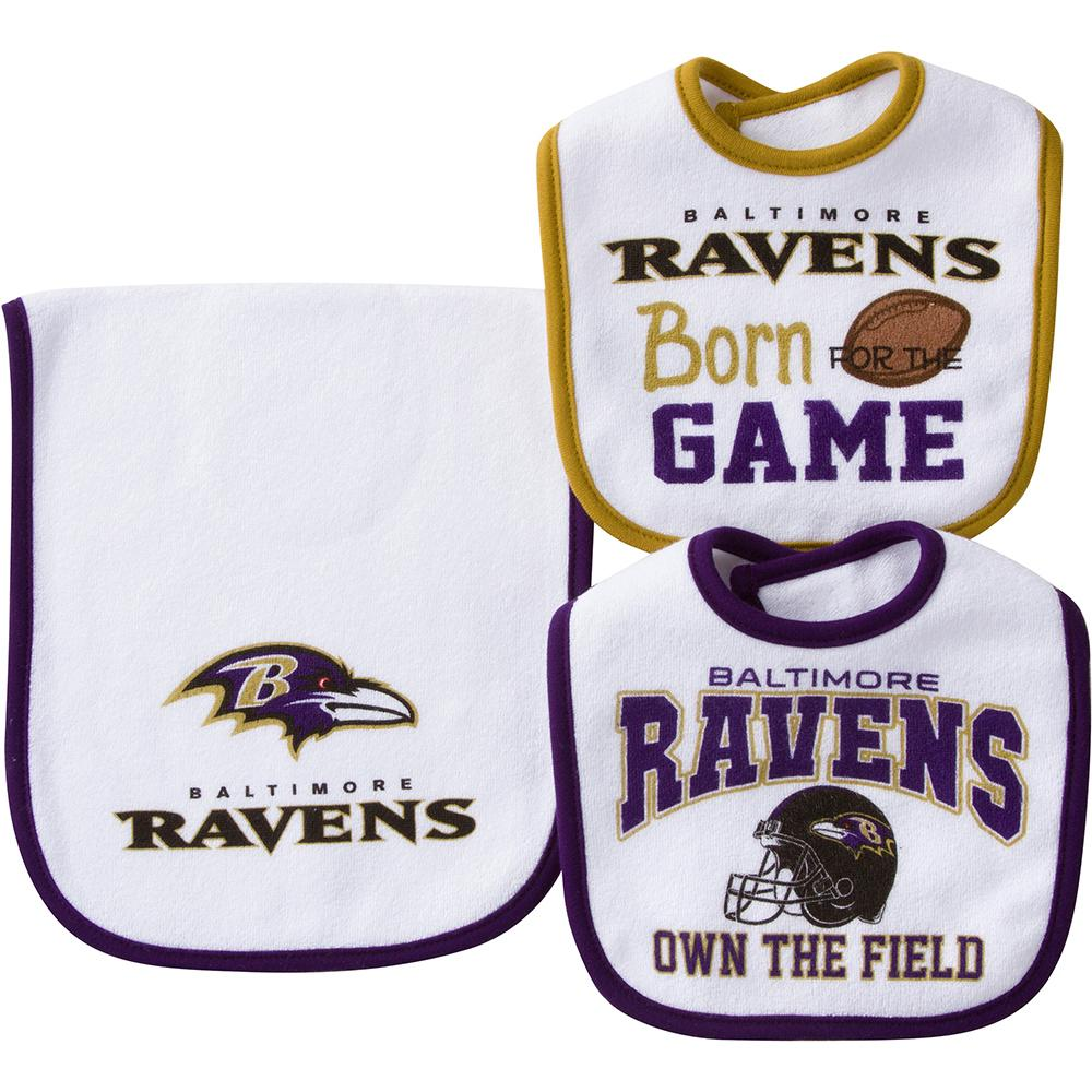 Baltimore Ravens Baby Two Bibs and One Burpcloth Set-Gerber Childrenswear