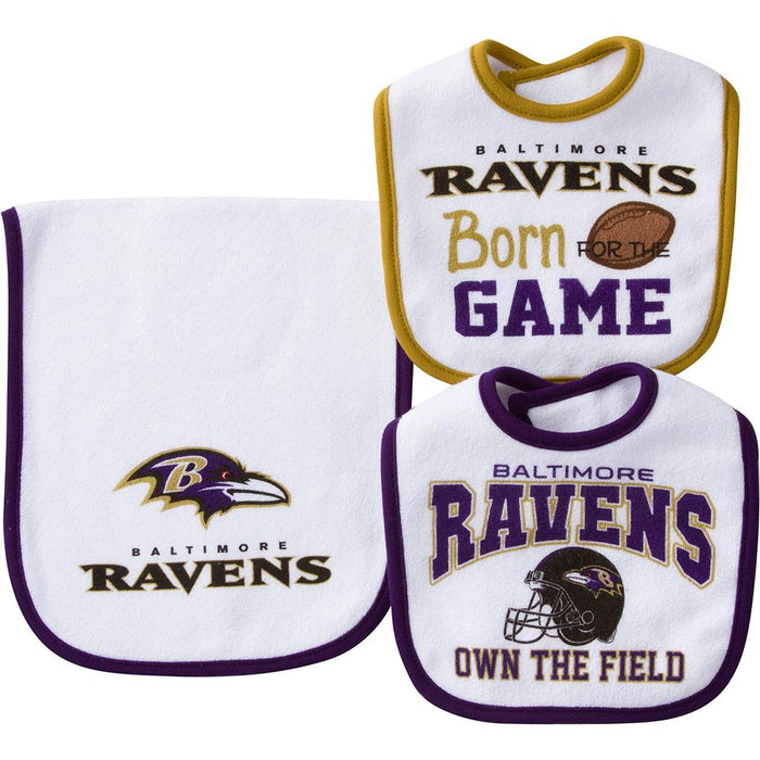 low priced 06b53 639aa Baltimore Ravens Baby Two Bibs and One Burpcloth Set