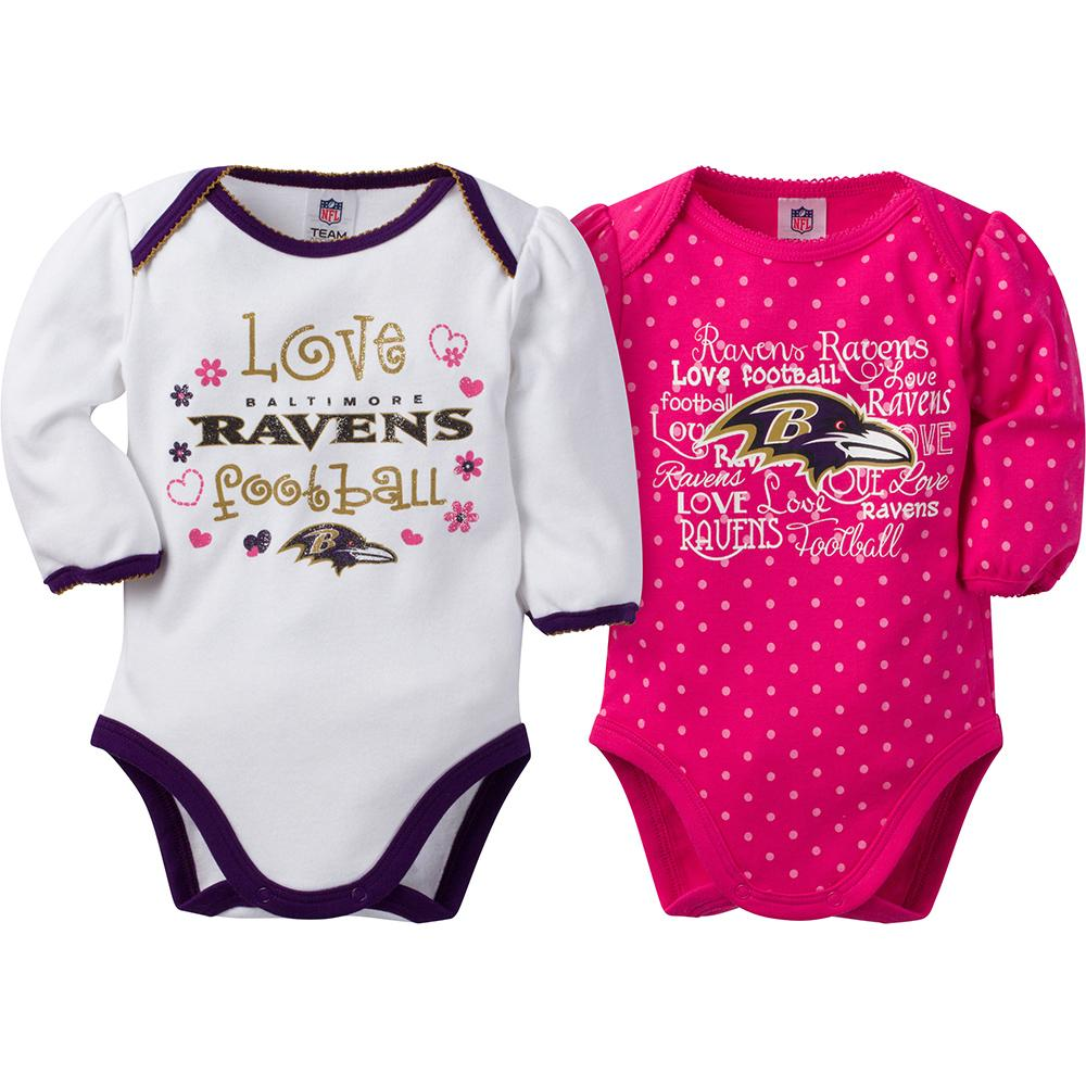 Baltimore Ravens Baby Girls 2-Pack Long Sleeve Bodysuit-Gerber Childrenswear
