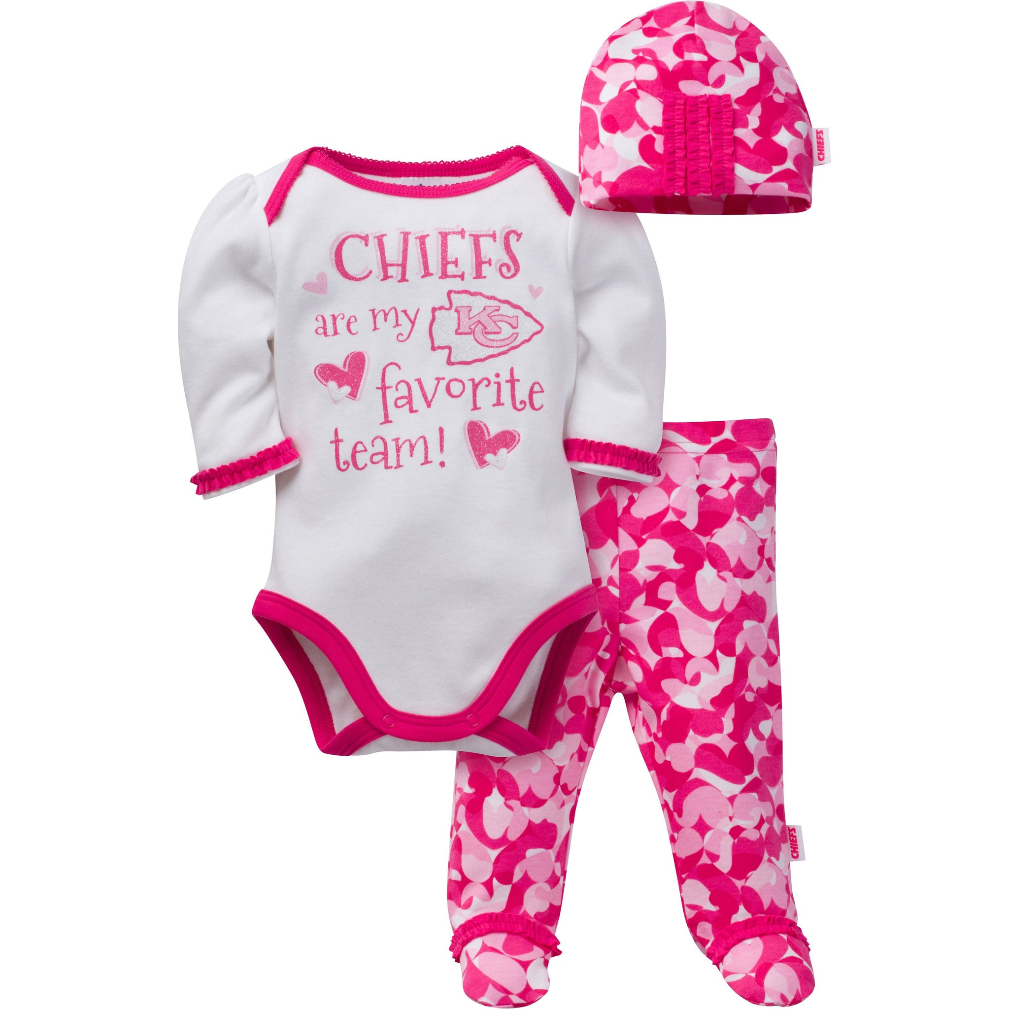 Kansas City Chiefs Baby Girls 3 Piece Bodysuit, Footed Pant and Cap Set